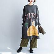 Одежда handmade. Livemaster - original item Dress large size cotton / dark gray. Handmade.