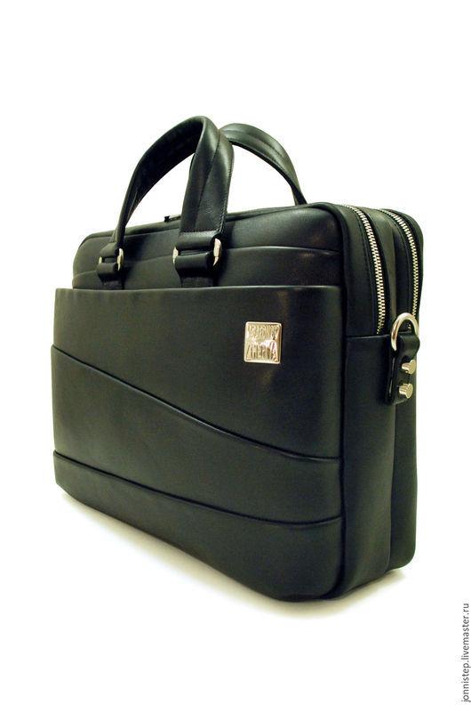 """Мужские сумки ручной работы. Ярмарка Мастеров - ручная работа. Купить Мужская деловая сумка """"Bargain_plain"""". Handmade. Черный, кожа"""