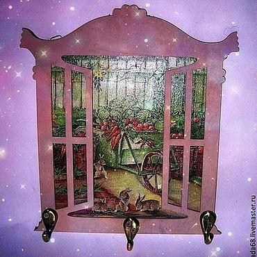 """Для дома и интерьера ручной работы. Ярмарка Мастеров - ручная работа Ключница """"А за окном...."""". Handmade."""