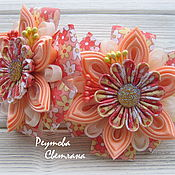Работы для детей, handmade. Livemaster - original item Scrunchie Orange Summer in the technique of Kanzashi. Handmade.