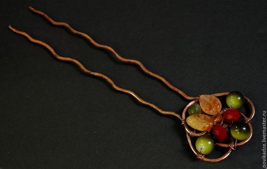 """Заколки ручной работы. Ярмарка Мастеров - ручная работа. Купить Шпилька """"Осень"""". Handmade. Разноцветный, медь, авторское украшение, рубин"""