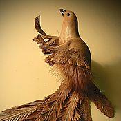 Украшения ручной работы. Ярмарка Мастеров - ручная работа Брошь Птичка из кожи и меха. Handmade.