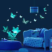 Для дома и интерьера ручной работы. Ярмарка Мастеров - ручная работа Светящиеся наклейки - Бабочки и цветы. Handmade.