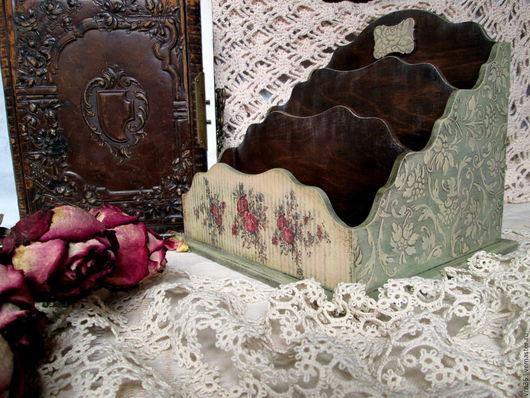 """Журнальницы ручной работы. Ярмарка Мастеров - ручная работа. Купить Подставка для ... """"Винтажные розы"""". Handmade. Комбинированный, подарок на любой случай"""