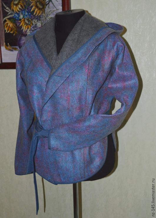 Верхняя одежда ручной работы. Ярмарка Мастеров - ручная работа. Купить Куртка с капюшоном валяная. Handmade. Синий, шерсть для валяния