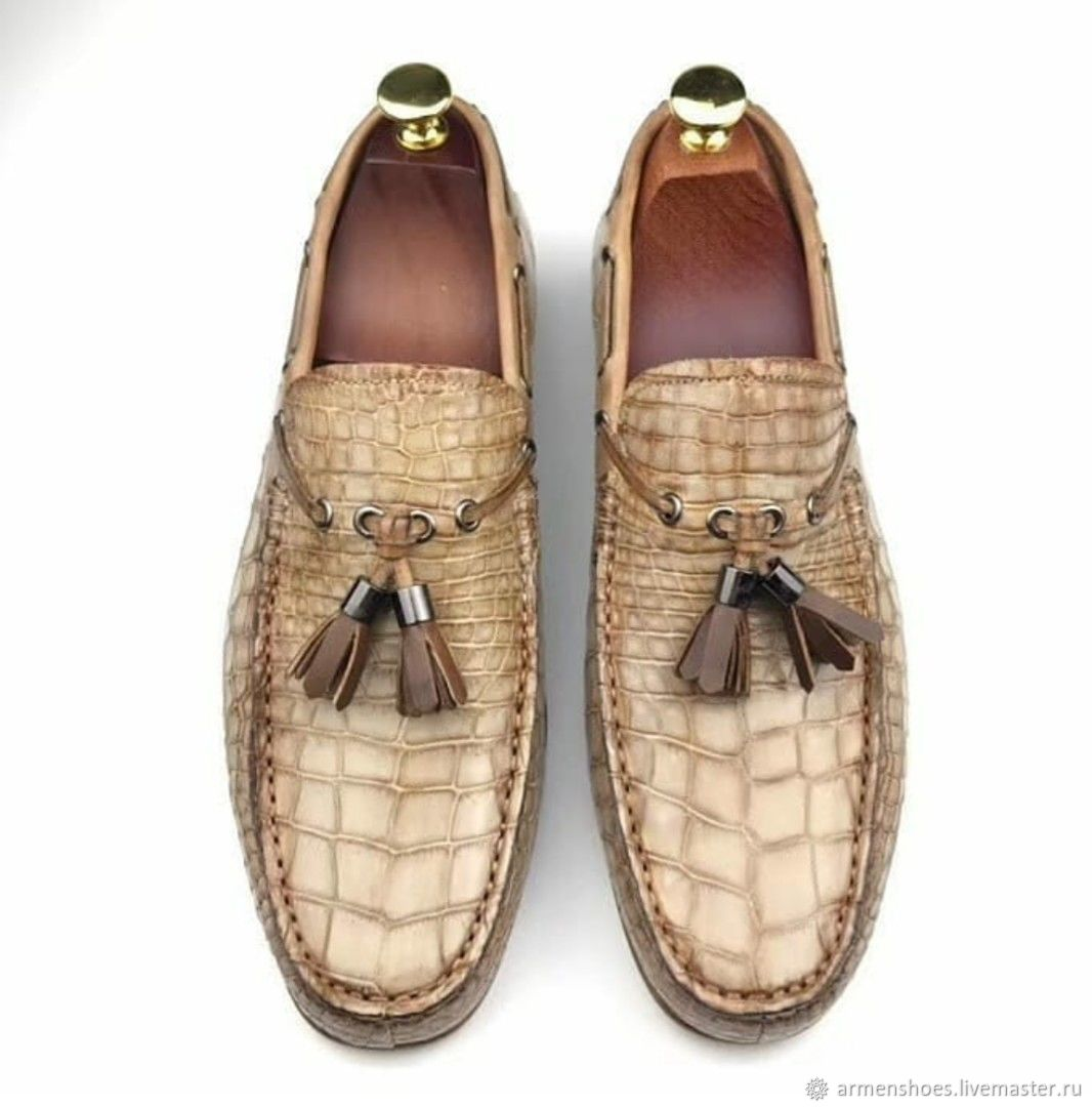 Topsiders made of crocodile skin, in beige color!, Boat shoes, Tosno,  Фото №1