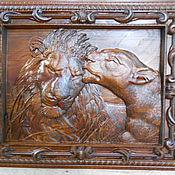 Картины и панно ручной работы. Ярмарка Мастеров - ручная работа Лев и львица. Панно №2. Handmade.