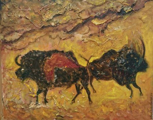 Этно ручной работы. Ярмарка Мастеров - ручная работа. Купить Этно картина с быками - подарок мужчине тельцу. Handmade. Разноцветный