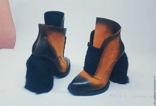 Обувь ручной работы. Ярмарка Мастеров - ручная работа. Купить Стильные ботинки ручной работы. Handmade. Оранжевый