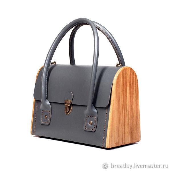 Серая кожаная сумка с деревом - CEILI - графитовый перламутр, Классическая сумка, Москва,  Фото №1