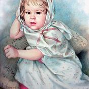 """Картины и панно handmade. Livemaster - original item Детский портрет в технике """"сухая кисть"""".. Handmade."""