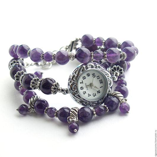 """Часы ручной работы. Ярмарка Мастеров - ручная работа. Купить """"Фиолетовый закат"""" - часы-браслет. Handmade. Фиолетовый, часы с браслетами"""