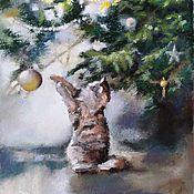 Картины и панно handmade. Livemaster - original item Pastel painting Christmas cat (Christmas tree green yellow purple). Handmade.