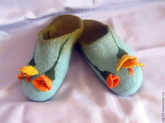 Домашняя обувь ручной работы, валяные тапочки, войлочные тапочки