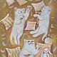 Животные ручной работы. Ярмарка Мастеров - ручная работа. Купить Белоснежные непоседы. Handmade. Котята, картина с котом, бежевый цвет