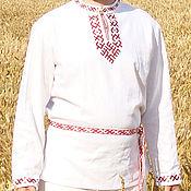 Русский стиль handmade. Livemaster - original item Russian embroidered linen shirt