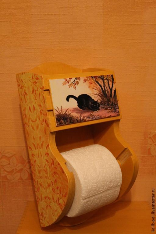 """Ванная комната ручной работы. Ярмарка Мастеров - ручная работа. Купить Держатель для туалетной бумаги))) """"Котейка"""". Handmade. Оранжевый"""