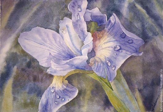 Картины цветов ручной работы. Ярмарка Мастеров - ручная работа. Купить Ирис после дождя. Handmade. Разноцветный, ирисы, картина
