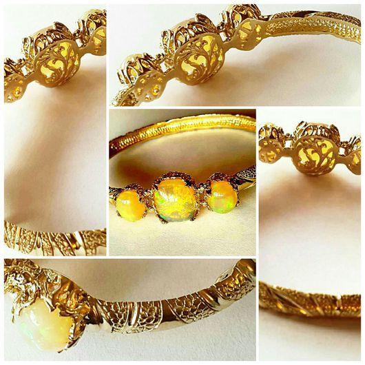 Браслеты ручной работы. Ярмарка Мастеров - ручная работа. Купить Золотой браслет с опалами. Handmade. Желтый, опал камень натуральный