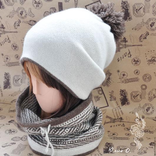 Шапки ручной работы. Ярмарка Мастеров - ручная работа. Купить комплект 2 вязаный шапка + снуд меринос. Handmade.
