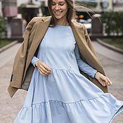 Платья ручной работы. Ярмарка Мастеров - ручная работа Платье Каскад из экозамши голубое. Handmade.