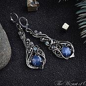 Украшения handmade. Livemaster - original item Long earrings with kyanite, evening earrings long drops. Handmade.