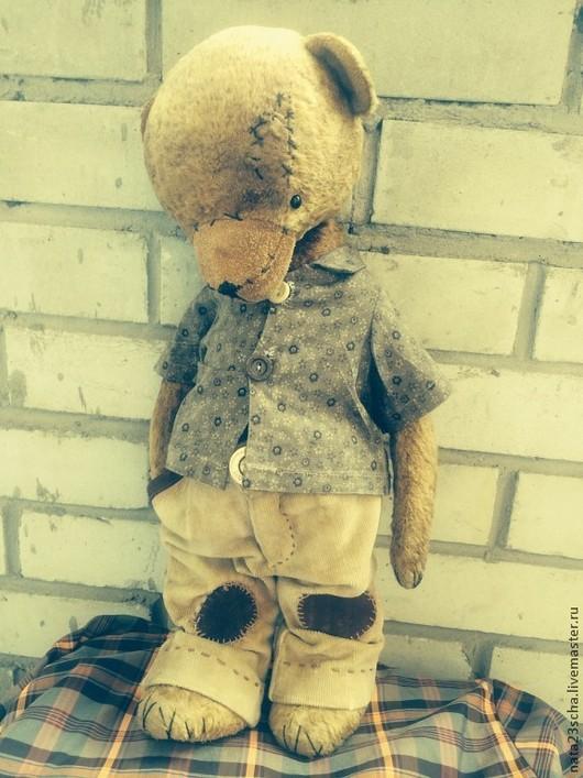 Мишки Тедди ручной работы. Ярмарка Мастеров - ручная работа. Купить Джон. Handmade. Плюш винтажный, кожа натуральная