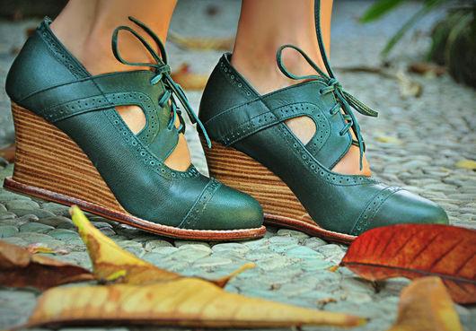 Обувь ручной работы. Ярмарка Мастеров - ручная работа. Купить Stockholm+, необыкновенные, винтажные оксфорды.. Handmade. Морская волна, обувь