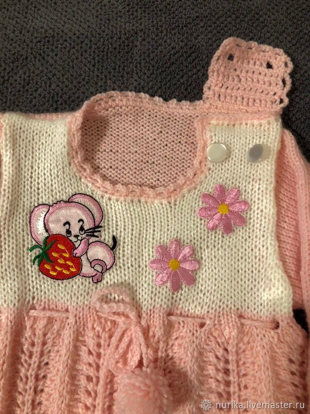 Платье для малышки 9 мес. - 1 год, связанное спицами