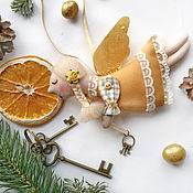 Мягкие игрушки ручной работы. Ярмарка Мастеров - ручная работа Ангел с золотыми крыльями. Handmade.