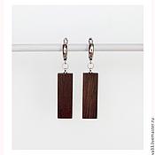 Earrings handmade. Livemaster - original item Rectangular earrings made of rosewood.. Handmade.
