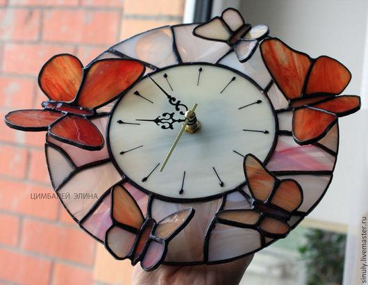 """Часы для дома ручной работы. Ярмарка Мастеров - ручная работа. Купить Витражные часы """"Нежность"""". Handmade. Часы необычные"""