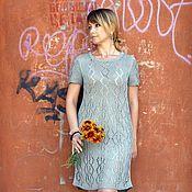 """Одежда ручной работы. Ярмарка Мастеров - ручная работа Платье ажурное  женское """"Grey"""" (100% лён). Handmade."""