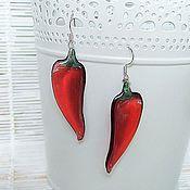 Украшения handmade. Livemaster - original item Transparent Earrings Red Chilli Eco Boho. Handmade.