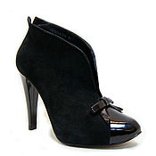 Винтаж handmade. Livemaster - original item 35 size! Black ankle boots from velour and patent leather. Handmade.