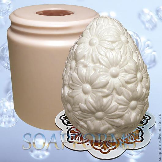 """Силиконовая форма для мыла """"Яйцо пасхальное цветочное 1"""""""