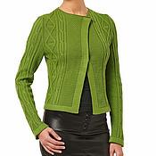 """Одежда ручной работы. Ярмарка Мастеров - ручная работа Хлопковый жакет  """"Хитросплетение"""" зеленый. Handmade."""
