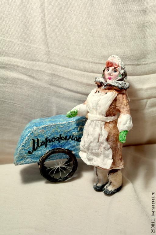 Коллекционные куклы ручной работы. Ярмарка Мастеров - ручная работа. Купить Ватная елочная игрушка.. Handmade. Коричневый, мороженое