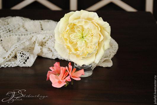 """Броши ручной работы. Ярмарка Мастеров - ручная работа. Купить Украшение """"Роза Остин - Белый вальс"""". Handmade. Лимонный, подарок"""