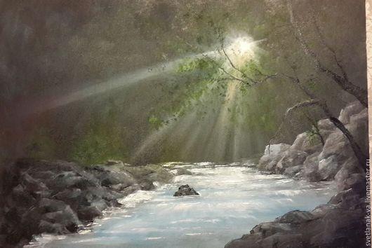 """Пейзаж ручной работы. Ярмарка Мастеров - ручная работа. Купить Картина маслом """"Утро на реке"""". Handmade. Рассвет, пейзаж"""
