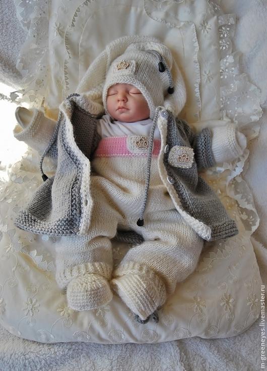 """Одежда ручной работы. Ярмарка Мастеров - ручная работа. Купить Комплект """"Tiny Princess-II"""". Handmade. Белый, на выписку для девочки"""