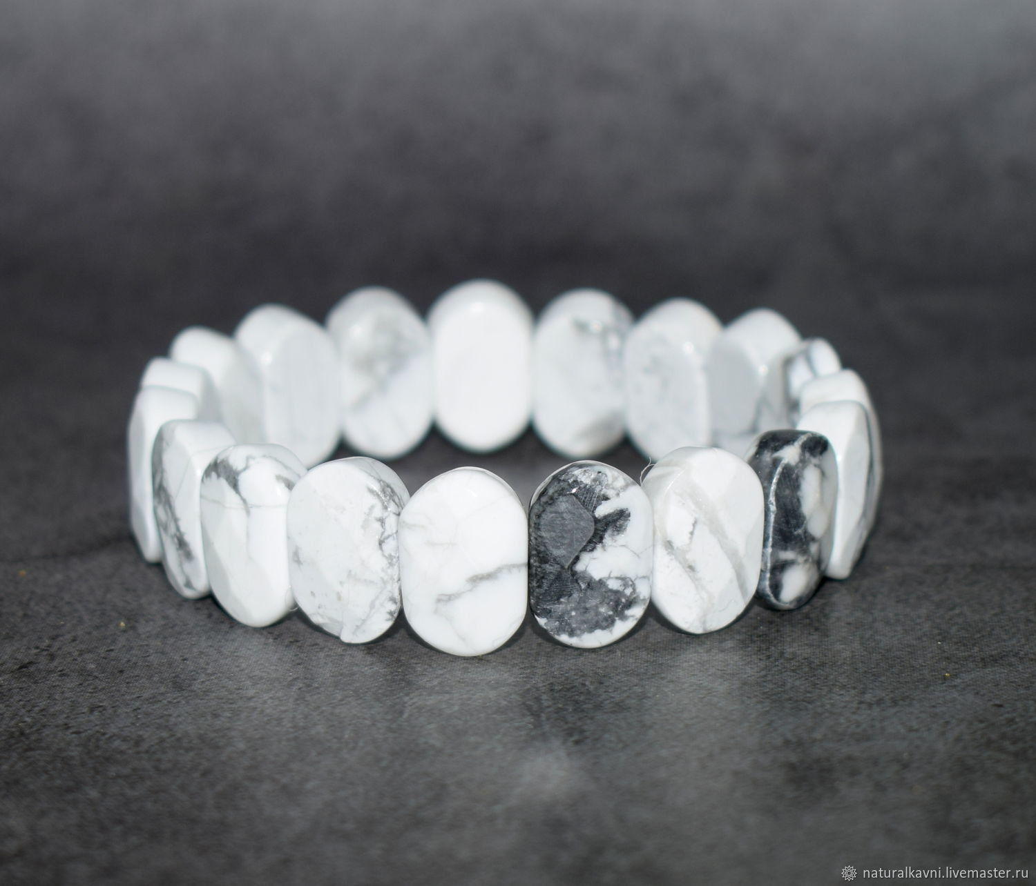 Bracelet with faceted natural cacholong, Bead bracelet, Moscow,  Фото №1