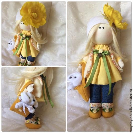 Куклы тыквоголовки ручной работы. Ярмарка Мастеров - ручная работа. Купить Интерьерная текстильная кукла большеножка Солнечная малышка. Handmade.