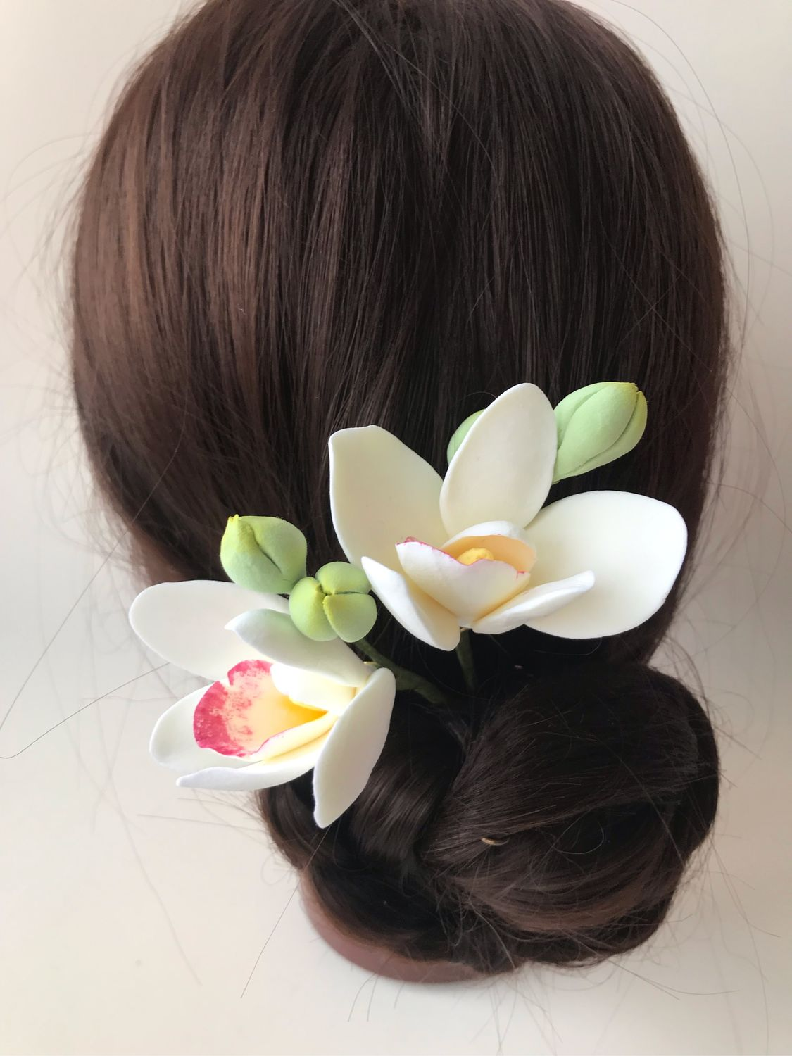 Studs with white orchids made of polymer clay, Hair Decoration, Voskresensk,  Фото №1