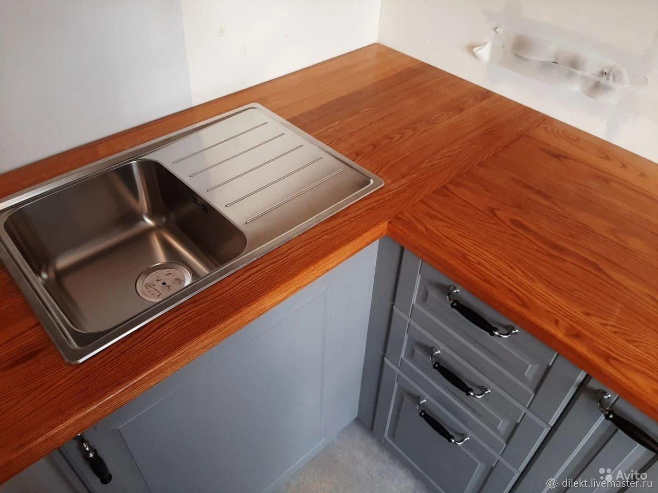 Деревянная кухонная столешница из массива ясеня, Кухни, Москва,  Фото №1