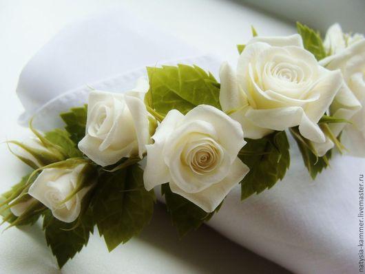 Свадебные украшения ручной работы. Ярмарка Мастеров - ручная работа. Купить Веточка с белыми розами. Handmade. Белый, свадебные аксессуары