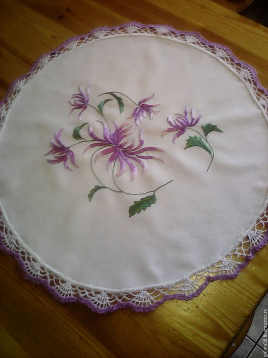 """Текстиль, ковры ручной работы. Ярмарка Мастеров - ручная работа. Купить Салфетка вышитая """"Хризантемы"""". Handmade. Белый, салфетка с кружевом"""