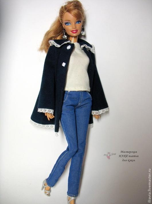 Одежда для кукол ручной работы. Ярмарка Мастеров - ручная работа. Купить реалистичные джинсы  для куклы Барби. Джинсовые брюки. Handmade.
