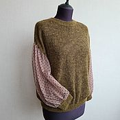Одежда handmade. Livemaster - original item Knitted blouse with airy sleeves in olive khaki. Handmade.