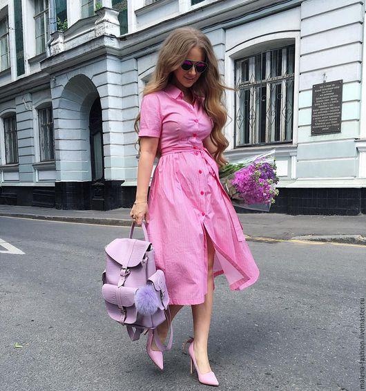 Платья ручной работы. Ярмарка Мастеров - ручная работа. Купить Платье на пуговицах длинны миди. Handmade. Бледно-розовый